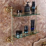 JinRou Unique design style Rose gold Golden double continental glass racks rack antique bronze Dresser bathroom sanitary ware