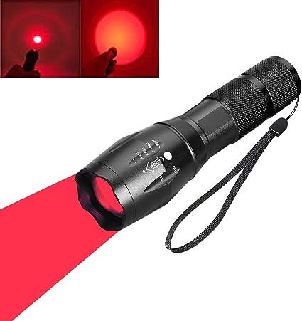 Lumière Rouge DEL Lampe de poche rechargeable torche Zoomable DEL Rouge Torche De Nuit Rouge
