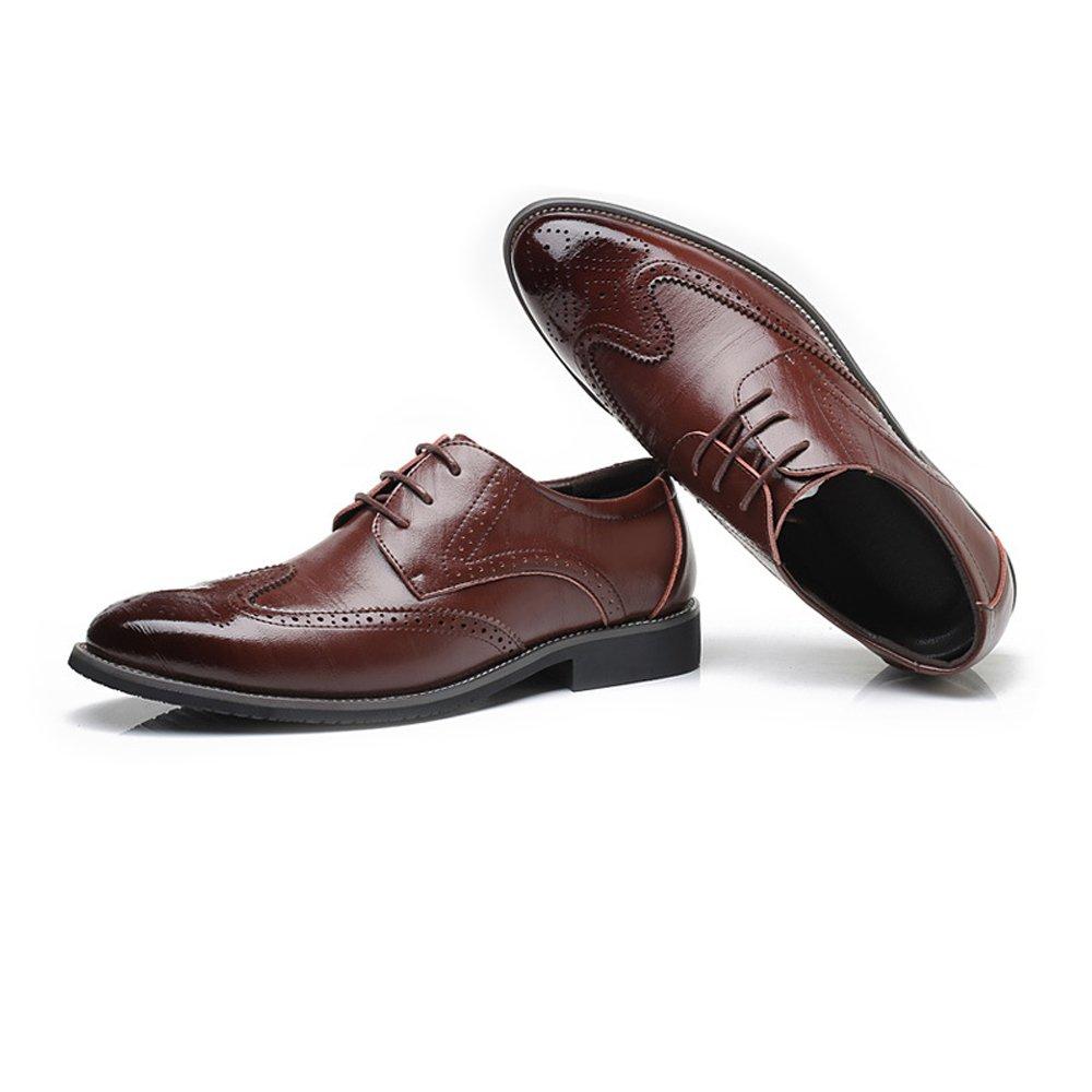 BMD Schuhes Lederschuhe, Herren Echtes Leder Brogue Schuhe Wingtip Hohl Gefütterte Carving Schnüren Blockabsatz Business Gefütterte Hohl Oxfords (Farbe : Blau, Größe : 48 EU) Braun bb2b99