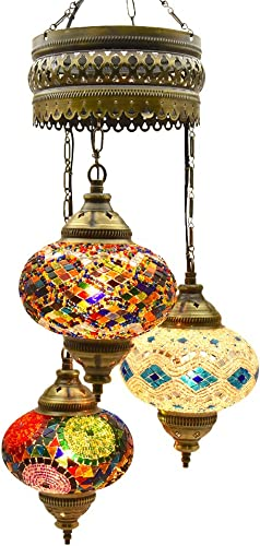 Choose from 5 Designs Turkish Moroccan Mosaic Glass Chandelier Lights Hanging Ceiling Tiffany Lamp, Large C