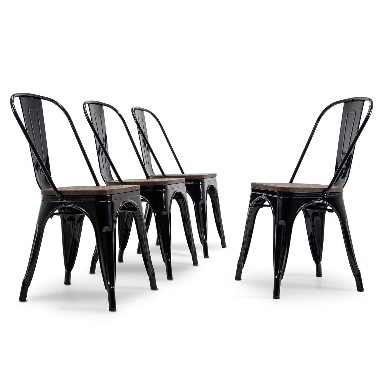 Belleze Modern Style Metal Industrial Stackable Bistro Dining Chairs Set of 4 Wood Seat Cafe Bar Restaurant Stool Black