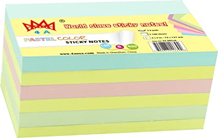 """STICK ON NOTES 3/""""X3/""""  500 Sticky Sheets 5 Pads//Pack Pastel Yellow"""