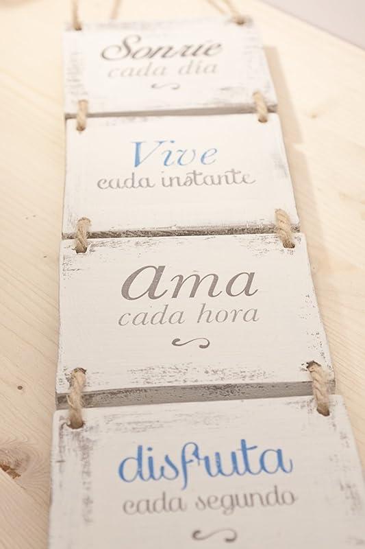 Cartel vintage de madera Sonríe cada día - Transferencia de fotos a madera - Laminas sobre madera - Cuadro de madera - Frases transferidas a madera