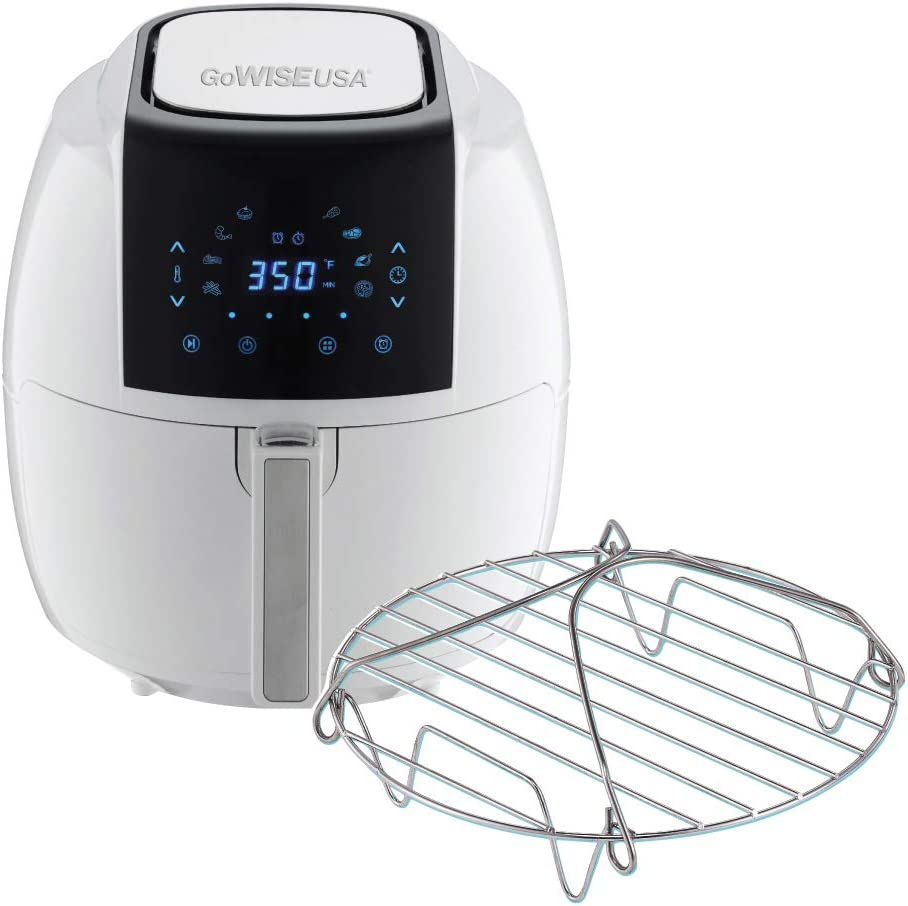 GoWISE USA 5.8 Quart Digital Touchscreen Air Fryer with Grill Rack (White)