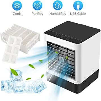 Mini Air Cooler, 1 Piece Portable Air Conditioner Fan with Ice Cube Mould and Spare Filter, USB Desktop Cooling Fan, Purifier and Humidifier for Home,