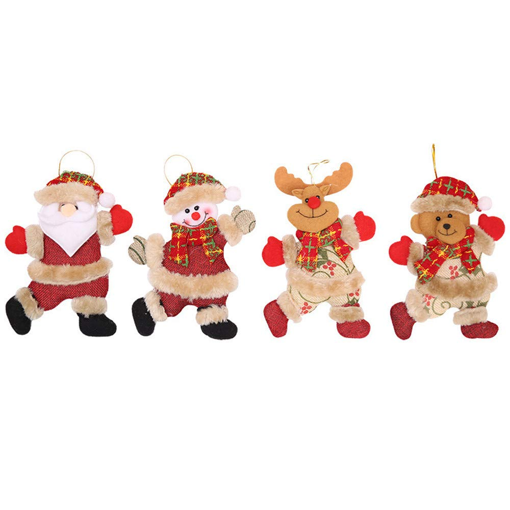 MomeNewest Christmas Hanging4PCS Christmas Ornaments Gift -Santa Claus- Snowman-Bear-Reindeer, Baby Kids Toy Doll Tree Hang Hong Decorations (Multicolor)