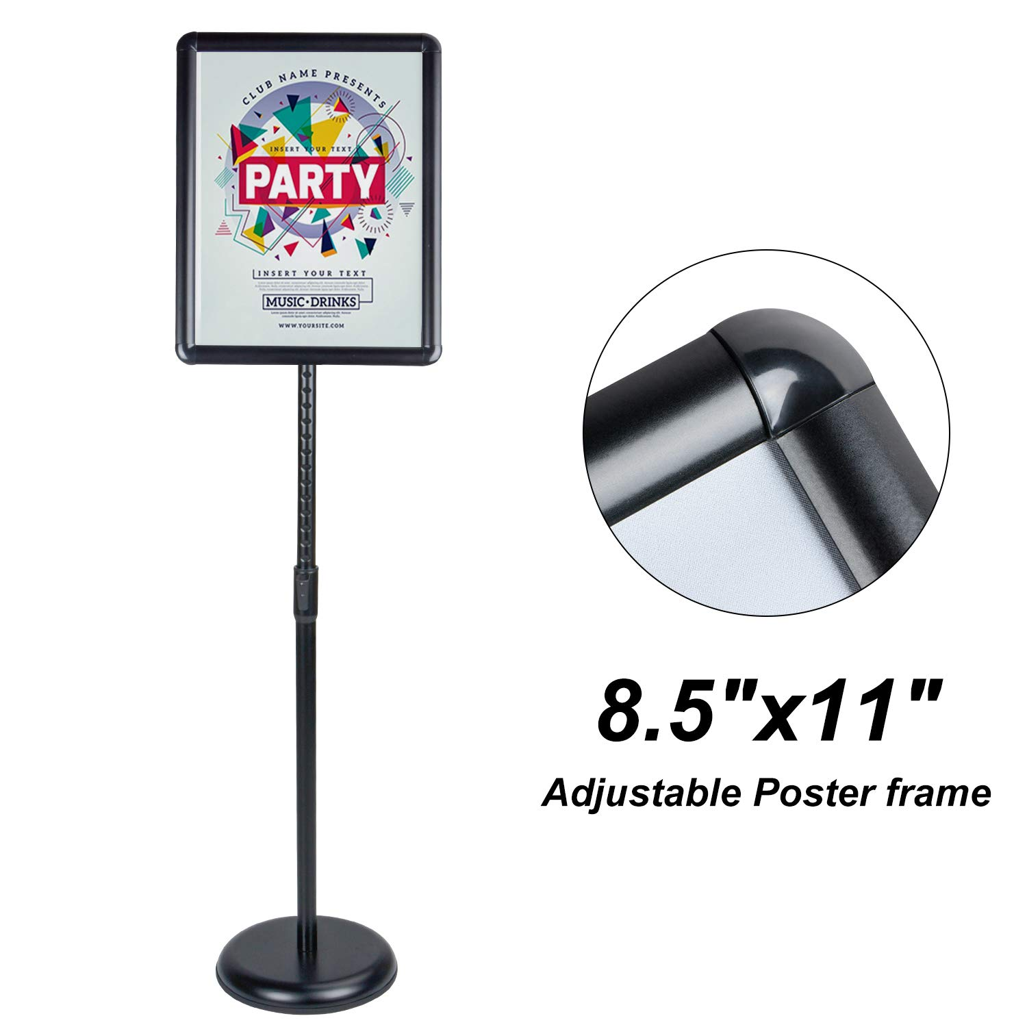 AkTop Adjustable Poster Sign Stand, 8.5 X 11 Inch Heavy Duty Pedestal Floor Standing Sign Holder, Black Snap-Open Aluminum Frame with Safety Rounded Corner by AkTop