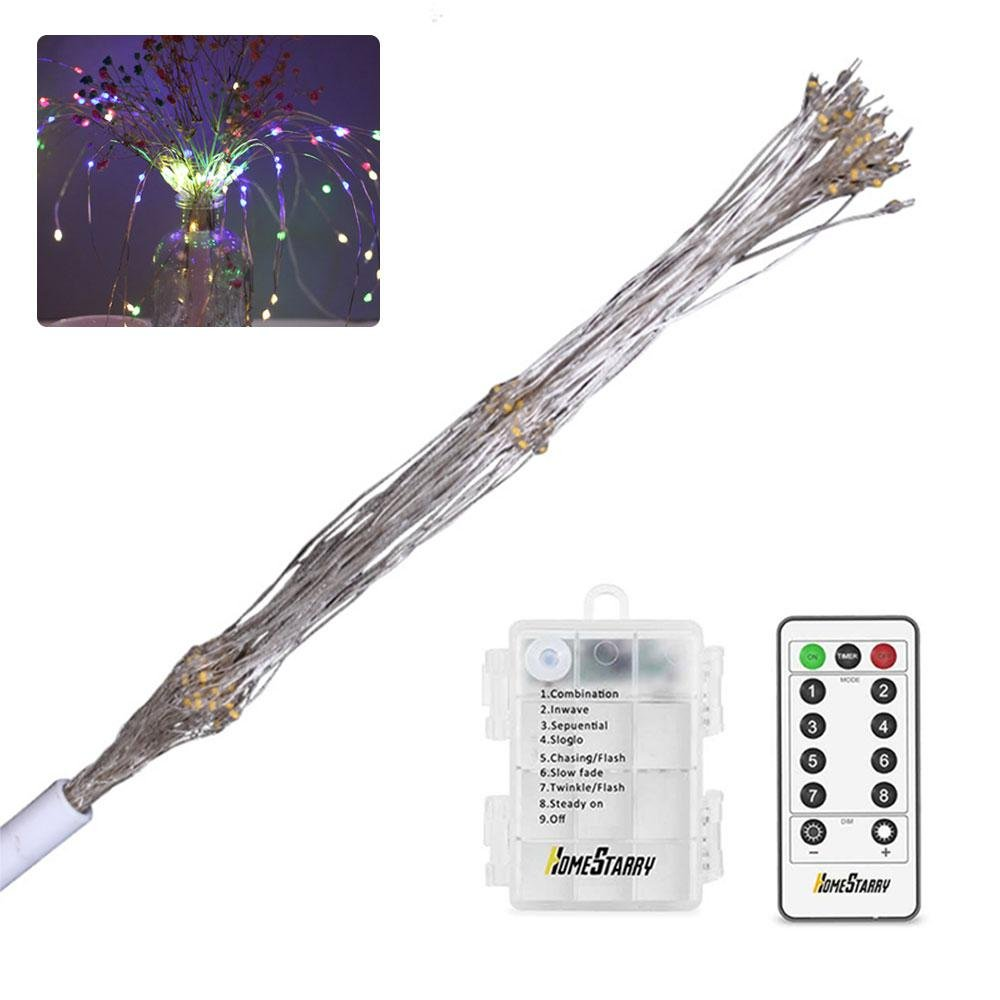 Umiwe LED Hanging Starburst Fairy String Lights, 8 Modes 120 LED Firework Spray Bouquet Shape Battery Operated Decorative Lights with Remote Control for Bedroom, Garden, Patio, Wedding,Parties