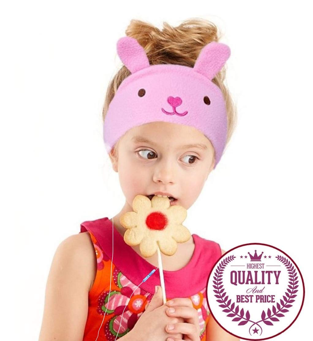 Auriculares Charlxee Niños Cozy y Plegable Headband Toddler para Air Viaje or Home - Pink Bunny