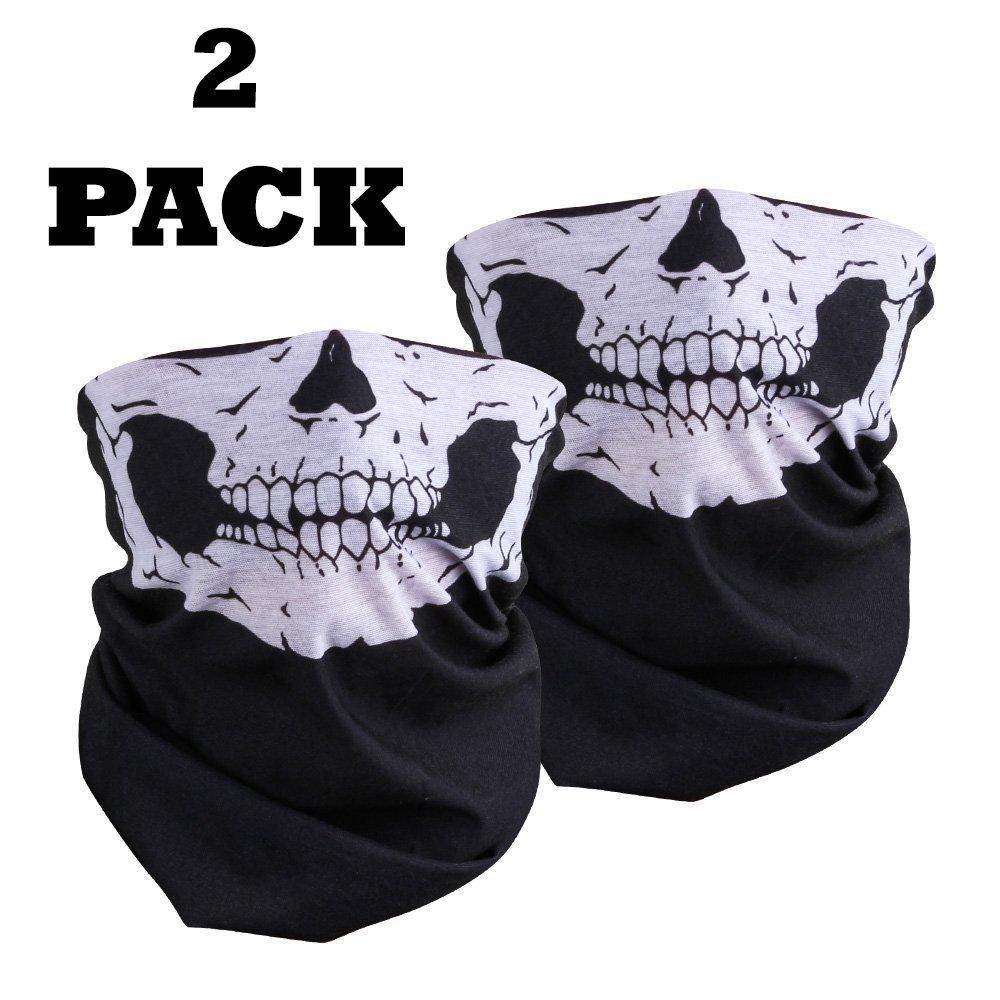Lot de 2 masques avec motif de squelette - Demi visage - Bandanas noirs polyvalents -Pour la moto, le vé lo, le BMX, les sports d'exté rieur, le Paintball, les soldats le vélo les sports d' extérieur Comic Super Hero