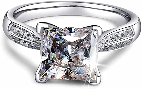 Amazon.com: 2ct Princess Cut AAA CZ 925 Silver Women