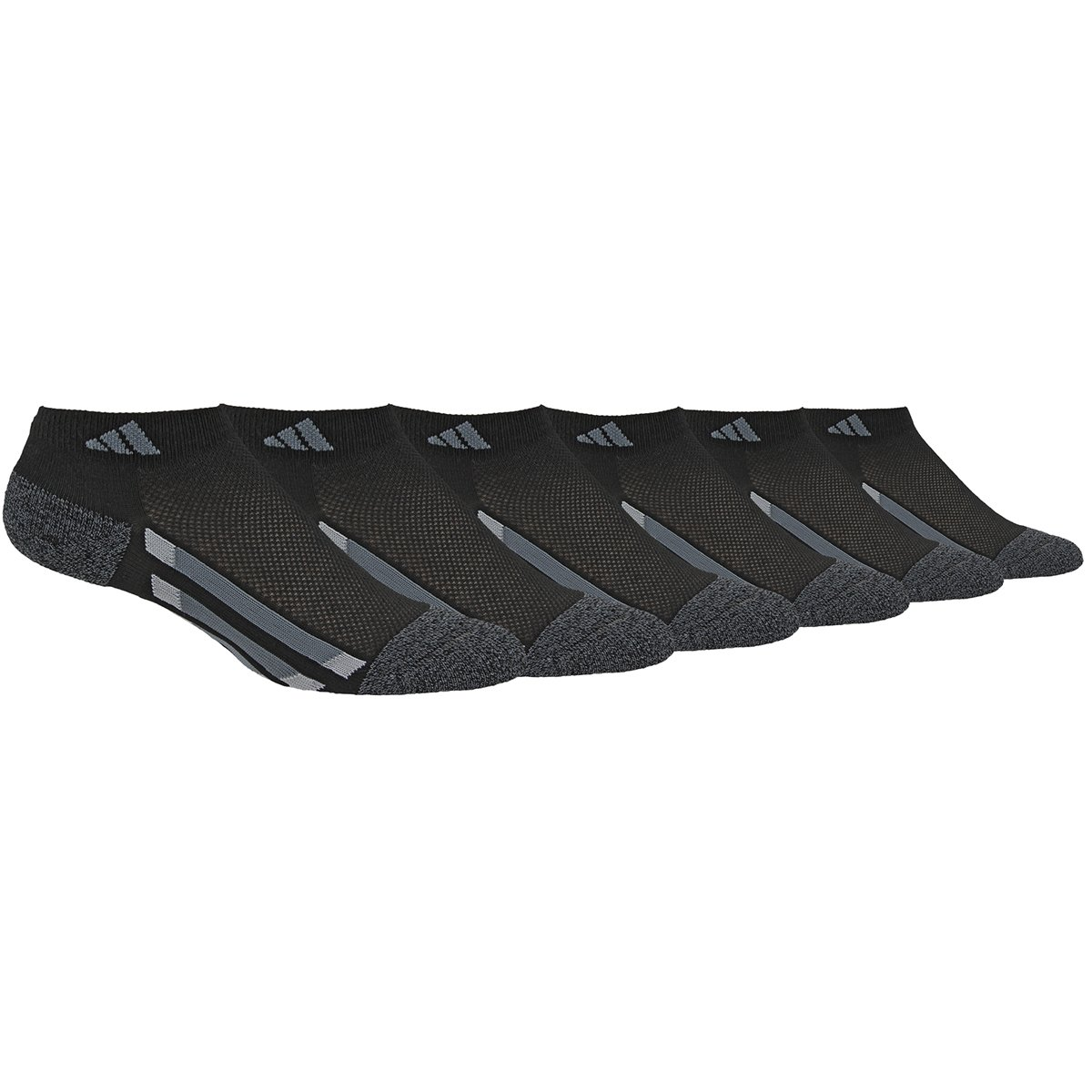 adidas Youth Kids-Boy's/Girl's Cushioned Low Cut Socks (6-Pair), Black/Black - Onix Marl/Light Onix/Onix, Medium, (Shoe Size 13C-4Y) by adidas