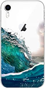Blingy's iPhone XR Case, Ocean Style Transparent Clear Soft TPU Protective Rubber Case Compatible for iPhone XR (Ocean Splash)