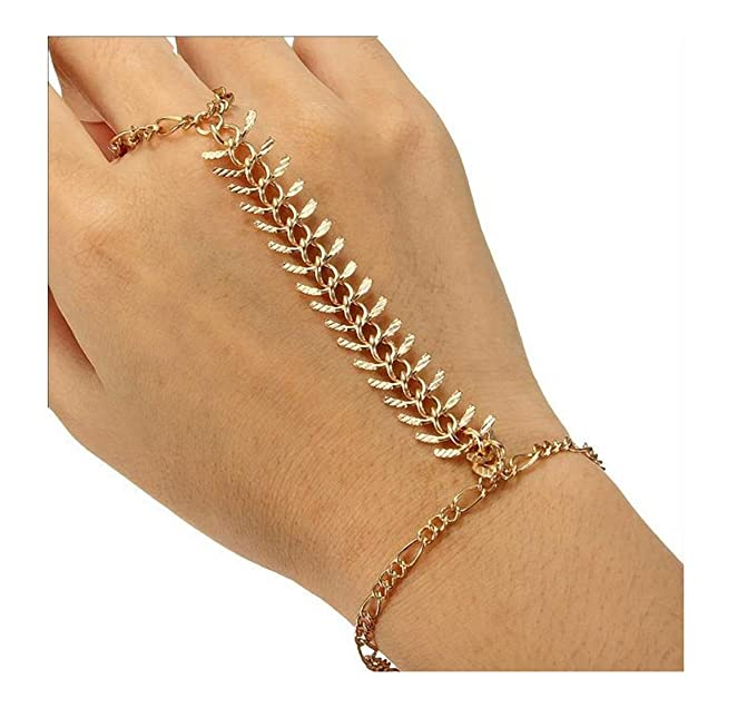 Amazon.com: Latest Fashion Gold Toned Slave Bracelet With Attached ...