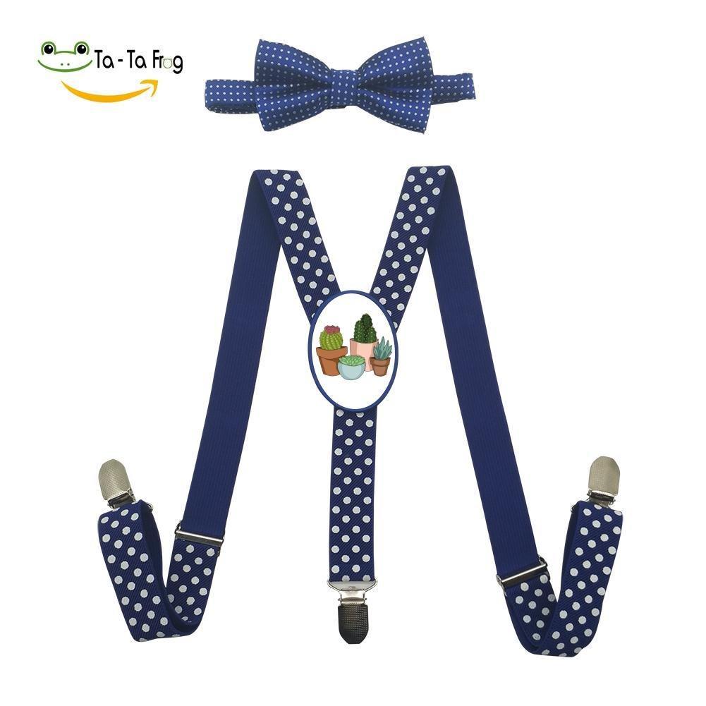 Xiacai Happy Succulents Suspender/&Bow Tie Set Adjustable Clip-On Y-Suspender Boys