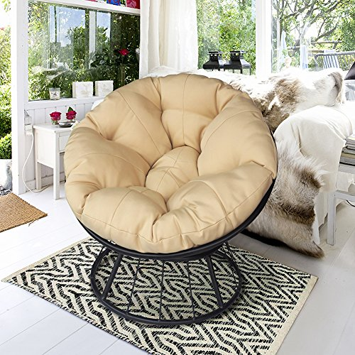 Deluxe 360 Swivel Papasan Chair with Soft Cushion, Outdoor Patio Swivel Glider Rocking Lounge Chair, Deep Seating Moon Chair, Solid Twill Fabric Khaki Cushion (Papasan Swivel Chair Cushion)