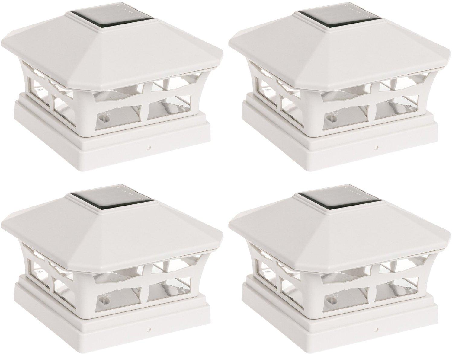 4 Pack Green Lighting Solar Powered Post Cap Light for 5 x 5 PVC Post (Off White)