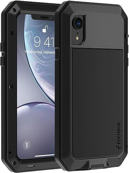 Focusor Coque iPhone XR, 【Antichoc & Renforcé】【Metallique】 Incassable Solide Blindé Coque 360 degré Full Body Heavy Duty Metal Protection Case avec du ...
