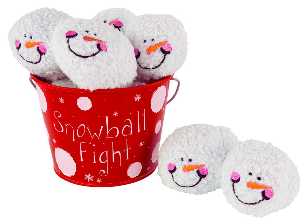 Snowball Fight! 6 Plush Snowmen Balls and a Red Tin Labeled ''Snowball Fight'' - Indoor Play Ball Toy