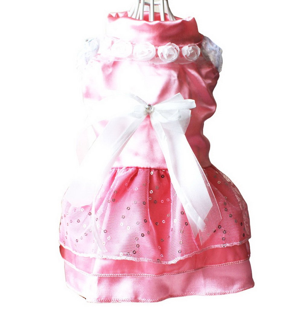SELMAI Wedding Dress for Small Dogs Floral Satin Lace Bow Trim Tiered Sequins Princess Tutu Dress Puppy Pet Cat Chihuahua Summer Clothes Apparel Pink XS