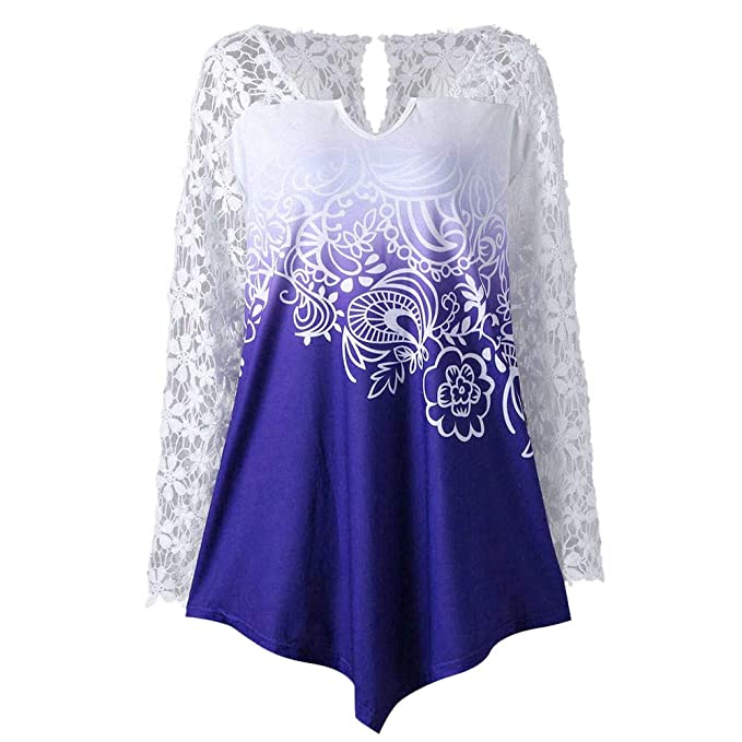 Camisa de Manga Larga para Mujer Moda Blouses del Impresión de Encaje Floral Blusa Casual Tops