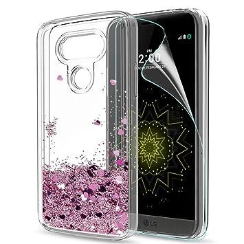 LeYi Funda LG G5 Silicona Purpurina Carcasa con HD Protectores de Pantalla,Transparente Cristal Bumper Telefono Gel TPU Fundas Case Cover para Movil ...