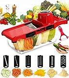 Mandoline Slicer - FUKTSYSM Vegetable Slicer 6 Adjustable Blades with Peeler, Vegetable Cutter, Potato Slicer Grater & Julienne