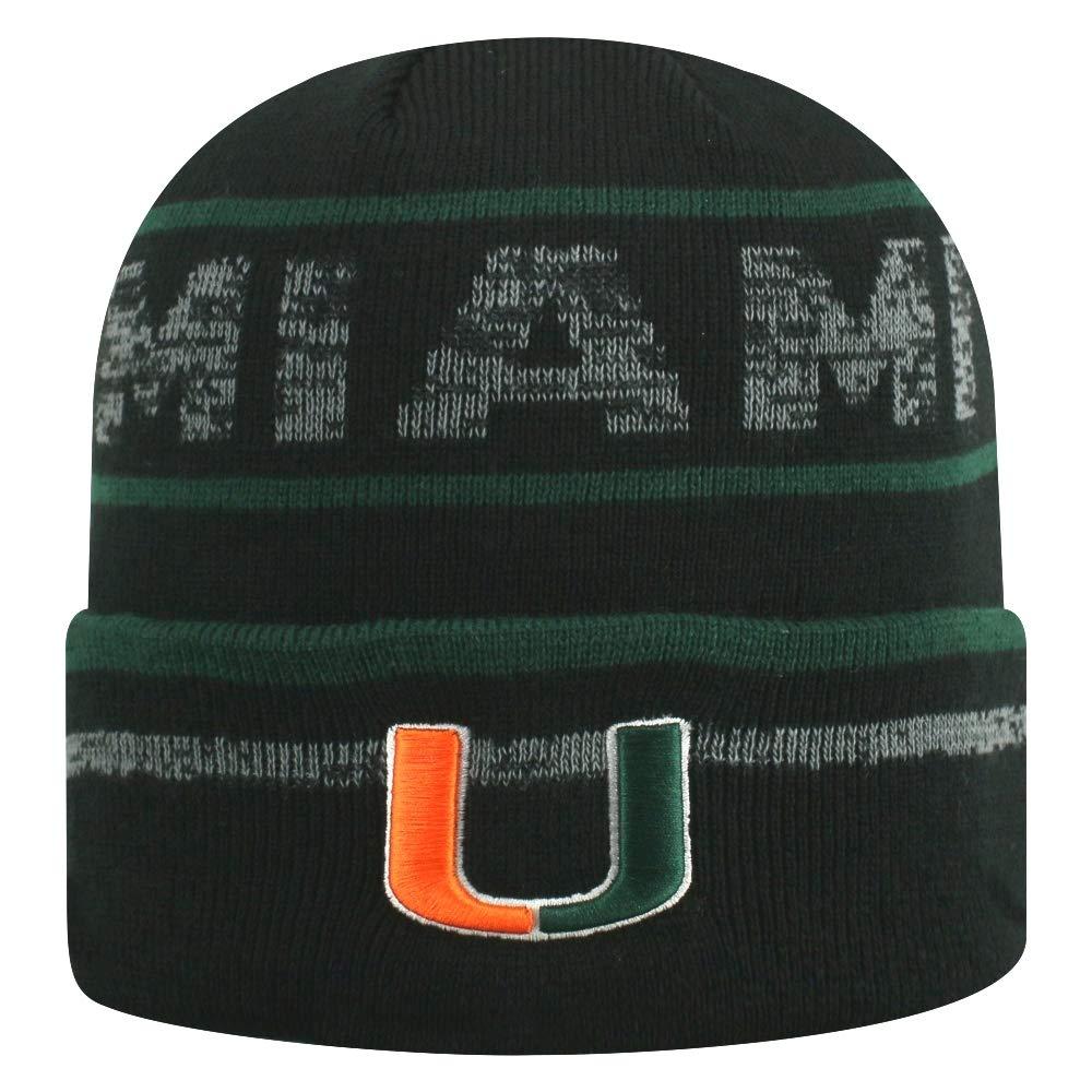 Top of the World マイアミハリケーンズ NCAA エフェクトカフ付きブラックニット帽   B07FN83X7J