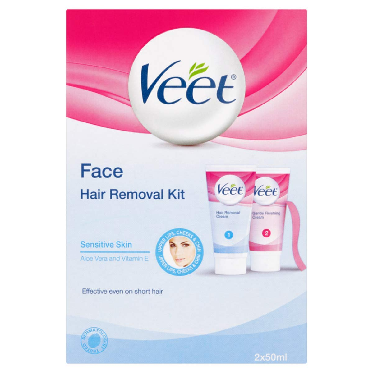 Veet Facial Hair Remover Kit Sensitive Formula, Hair Removal and Finishing Cream Included - 1.69 Fl Oz / 50 mL ea x 2 Pack