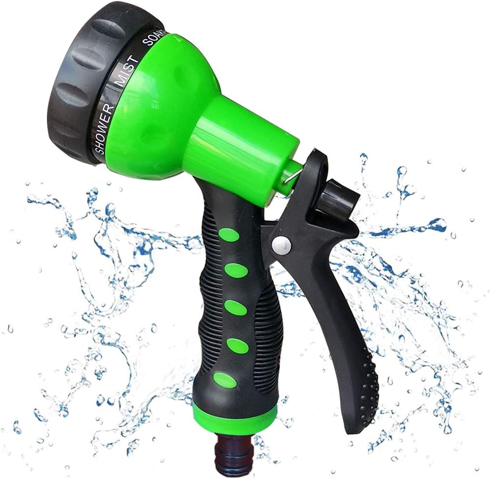 hose spray nozzle - Heavy Duty High Pressure Water Nozzle for Garden Hose, 7Different Spray Patterns, Thumb Control for Watering Plants, Washing Cars, and Showering Pets (Green)