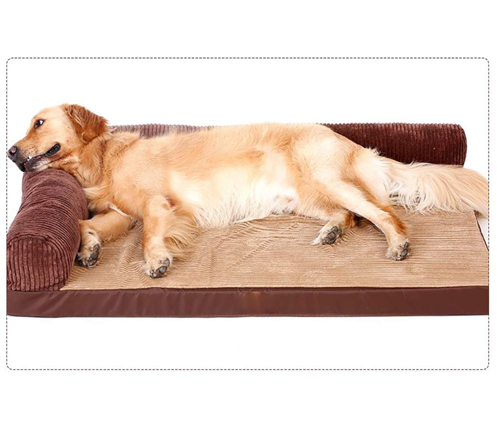 Double side M Double side M Yuandudu Dianzi Removable And Washable Four Seasons Universal With Pillow Predection Spine Does Not Collapse Sponge Kennel Mat Blanket Brown Suitable golden Retriever Dog Size Pet Supplies