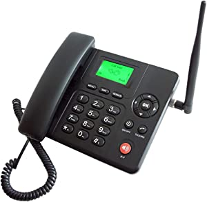 SIM Card-Based Cordless Desk Phone for AT&T T-Mobile with Text Message FM Tuner Voice Mail Caller ID Support