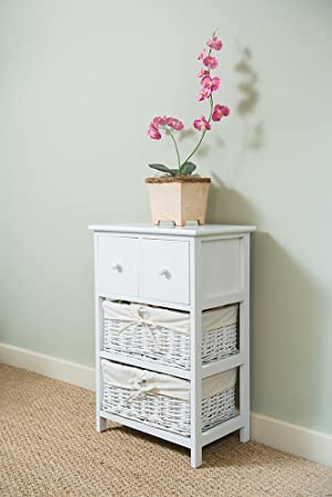 Shabby Chic White 2 Drawer Tall Bedside Unit With Wicker Storage