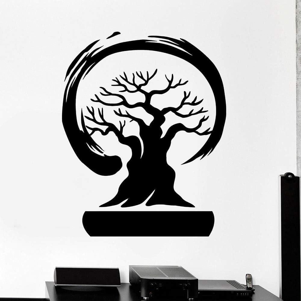 WERWN Calcomanías de Pared de árbol bonsái círculo Enso Zen Estilo asiático Puertas y Ventanas Pegatinas de Vinilo Oficina meditación decoración de Interiores Mural