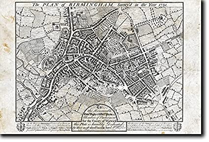 Vintage Map Of Birmingham England From 1731 Photo Print Poster