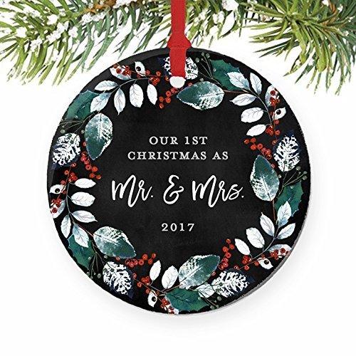 Bridal Ornaments (First Christmas Wedding Ornament 2017, Mr and Mrs 1st Married Christmas Ornament Bridal Shower Gift Newlywed Present Ceramic Wreath Keepsake Present 3