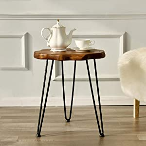 """WELLAND Natural Edge Side Table with Hairpin Legs, End Table for Sofa, Living Room, Bedroom, Heavy-Duty Pinewood Top, Easy to Assemble, 17.7""""D x 20.3""""H"""