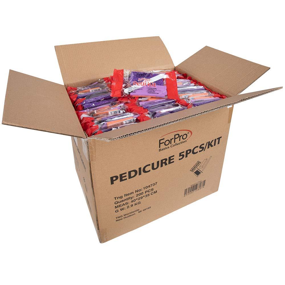 ForPro Basics 5-Piece Pedi Kit, Pumice Pad, Wood Nail File, Mini Buffer 100/180 Grit, Wood Stick, Toe Separators, 200-Count by ForPro