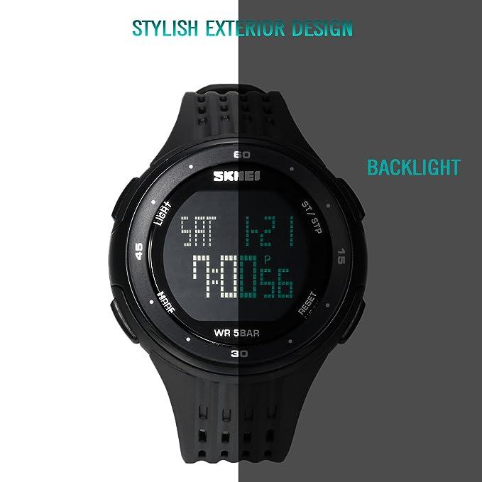 lancardo 50 M Resistente al Agua 2 Tiempo Zona Militar Adolescente Estudiante multifunción Reloj Digital