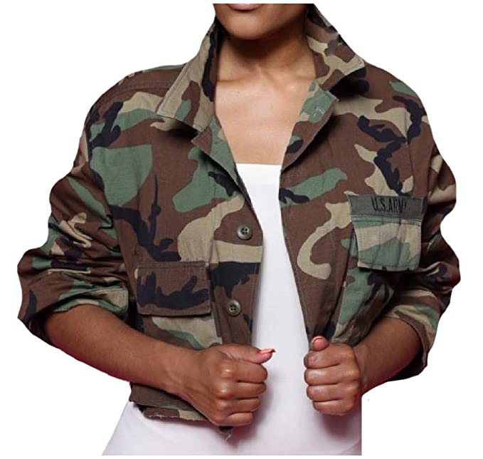 89154bbefa19f Coolred-Women Cardi Army Printed Camo Outwear Sexy Lapel Crop Tops Cargo  Jacket Coat AS1