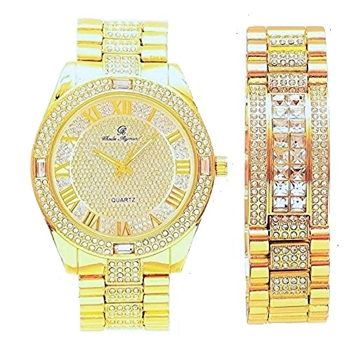 Bling-ed Out Hip Hop Timepiece Easy Reader Roman Numeral Dial Mens Watch and Matching Bling Bling ID Bracelet - 8546B Gold Roman
