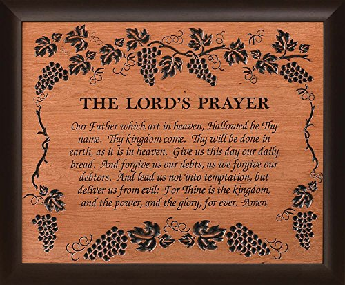 The Lord's Prayer Grape Vine 28 x 35.5 Wood Twotone Carved Wall Mounted Plaque