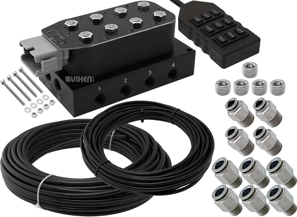 Vixen Air 8 Valve Suspension Manifold with 3/8'' OD Hose 100 FT, 1/4'' OD Hose 50 FT and Fittings VXF4CM01H