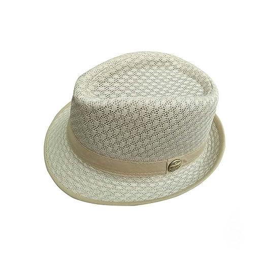 fc907e3cfca758 RoseSummer Men's Mesh Fedora hat Soft Cool Summer Short Brim Straw Classic  Trilby Cuban Beach Sun