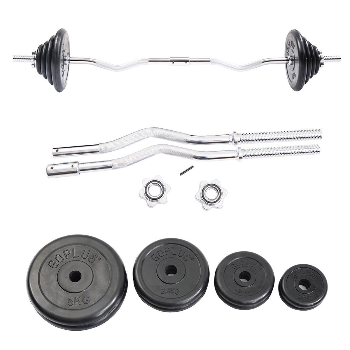 Apontus 52 lbs Gym Lifting Exercise Barbell Weight Set