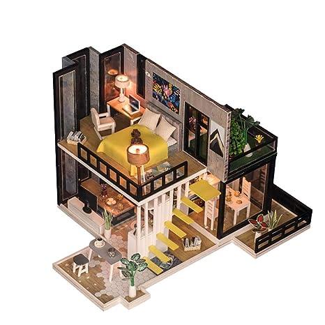 Amazon Com Dollhouse Miniatures Diy Dollhouse Kit Wooden Dollhouse