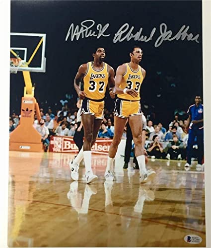 81b388e46f9 MAGIC JOHNSON   KAREEM ABDUL-JABBAR Signed Lakers 11x14 Photo ~ Beckett BAS  COA -