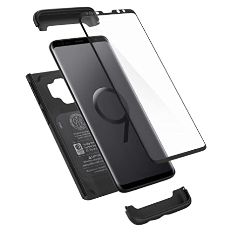 best loved efcfa 82c2b Spigen Galaxy S9 Black Case Exact Slim Full Body 360 Protection Tempered  Glass Screen Protector - 592CS22872