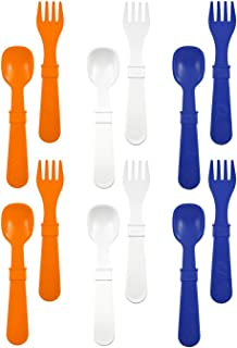 product image for RE-PLAY Made in The USA 12pk Fork and Spoon Utensil Set for Easy Baby, Toddler, and Child Feeding in Navy Blue, White and Orange | Made from Eco Friendly Heavyweight Recycled Milk Jugs | (Sport)