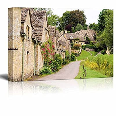 Beautiful Scenery Landscape Old Stone Houses of Arlington Row in The Village of Bibury England - Canvas Art Wall Art - 12